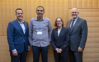 Andy Hannah, Jamie Casap, Ann E. Cudd, and Stephen Wisniewski at the 2018 Advanced Analytics Summit welcome reception on October 11, 2018.