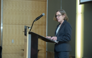 Provost Ann E. Cudd welcomes attendees to the 2018 Advanced Analytics Summit and introduces Jaime Casap, education evangelist at Google, the keynote speaker, on October 11, 2018.