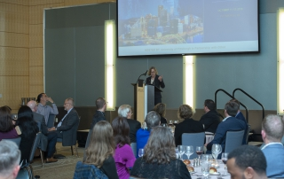 Provost and Senior Vice Chancellor Ann E. Cudd speaks at the 2018 Advanced Analytics Summit welcome reception on October 11, 2018.