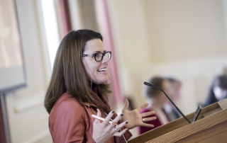 Rachelle Hernandez speaks at the 2018 Advanced Analytics Summit at the University of Pittsburgh University Club on October 12, 2018.