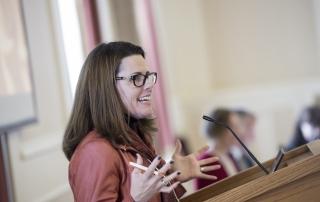 Rachelle Hernandez speaks at the 2018 Advanced Analytics Summit at the University of Pittsburgh University Club on October 12, 2018.